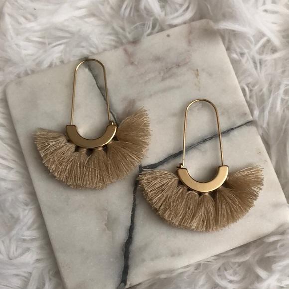 American Eagle gold and cream tassel earrings